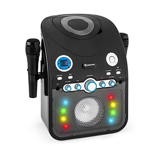 auna Starmaker Impianto Karaoke bluetooth con effetti luce multicolore e lettore CD (2 microfoni, effetti luce multicolore, cavo A/V) - nero