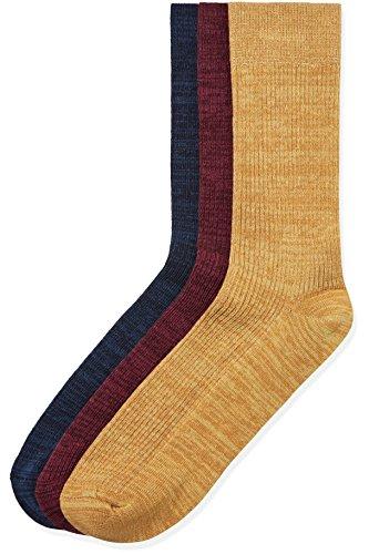 find. Socken Herren gerippt, mit verschiedenen Farben 3er-Pack, Mehrfarbig (Multi Coloured), Gr. 40-44 (6-9.5 UK)