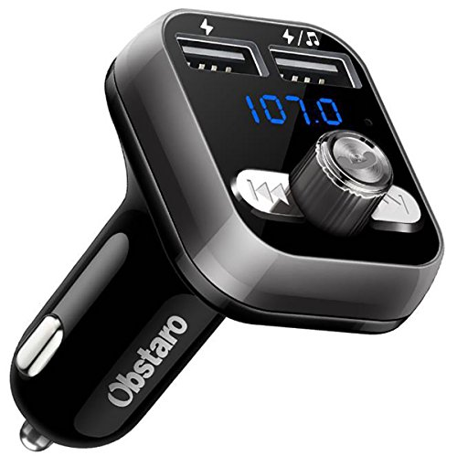 FM Transmitter, Obstaro Bluetooth Fm Transmitter, KFZ Auto Radio Adapter Freisprecheinrichtung Car Kit mit Blaue Anzeige , MP3 Player Adapter mit 2 USB Autoladegerät 3.4A für iOS- und Android-Geräte -