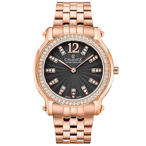Charmex Women's Eze 31.5mm Steel Bracelet & Case Quartz Black Dial Watch 6346