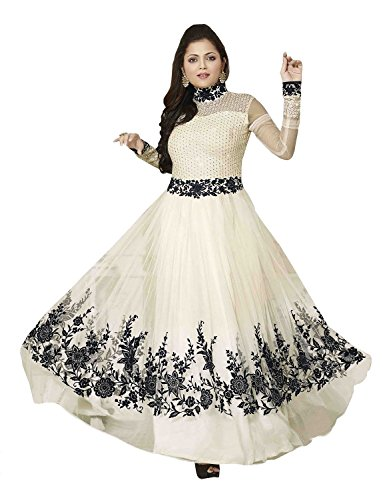 Sky Global Women's White Georgette Long Anarkali Type Unstitched Salwar Suit Dress Material (Dress_183_FreeSize_White)