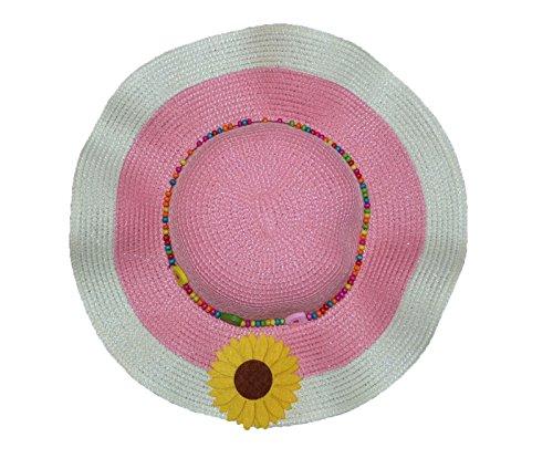 Pisco 'Femmes Seau paille chapeaux de plage d'été Soleil Chapeaux rose