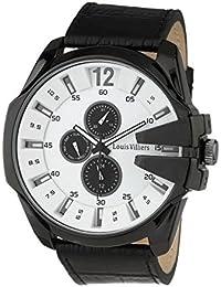 LOUIS VILLIERS Reloj de pared, color negro y blanco con pulsera para hombre, color negro