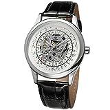 Gute Edle Klassische Herren Mechanisch aufziehbar Armbanduhr Silber Weiß Zifferblatt Leuchtzeiger