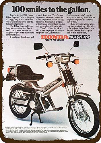Eyrrme 1982 Metallschild Honda Urban Express Deluxe Scooter Motorrad Vintage Look 17,8 x 25,4 cm Aluminium Schild 1982 Honda Express