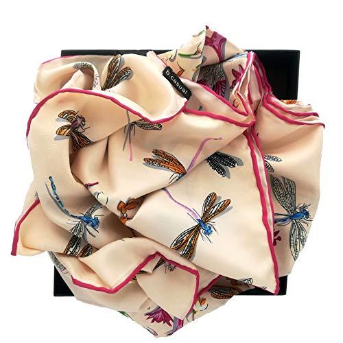 b.casual Seidentuch aus 100% reiner Seide handgerollt (130cm x 130cm) (Rosé) -