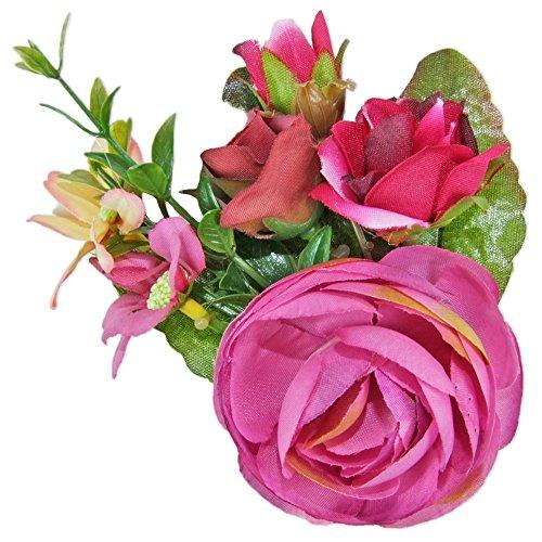 Anstecknadel mit bunten Blumen - Toller Haarschmuck zur Trach oder als Accessoire zum Sommerhut - Pink