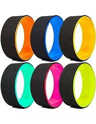 Rueda de yoga »RollUp« en distintas combinaciones de colores para mejorar la flexibilidad al practicar ejercicios de yoga. Un accesorio de yoga ideal (en inglés: yoga wheel) para aumentar la intensidad durante los asanas más complejos. Soporta un peso máximo aprox. de 120 kg / diámetro de 33 cm / rosa/negro