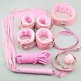 Kit 8 pezzi di colore rosa, un set bondage per i tuoi sexy giochi sadomaso, mascherina, frustino, collare ecc.. immagine
