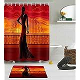 LB 150X180CM polyester Tissu Imperméable anti-moisissure Un modèle africain noir ponçant sur le pont au coucher du soleil Motif Rideau de douche avec Tapis de bain antidérapant,10pcs Crochets