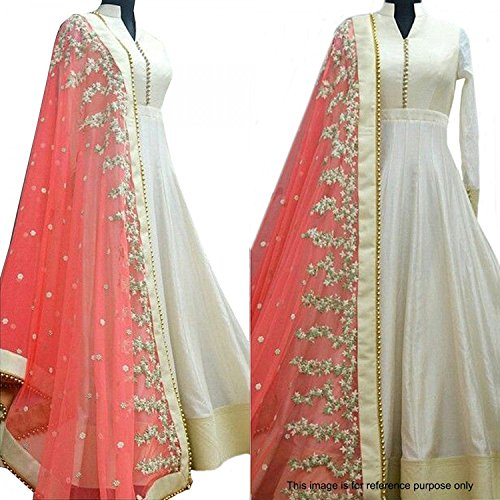 Haresh Khatri White Bangalore Silk Anarkali Semi-Stitched Suit