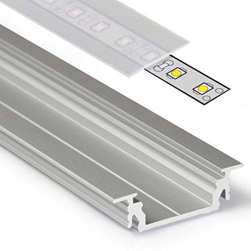 1-licht-acryl-diffusor (1m Aluprofil GROOVE14 (GR14) 1 Meter Aluminium Profil-Leiste eloxiert für LED Streifen - Set inkl Abdeckung-Schiene satiniert-frosted diffuse halbtransparent mit Montage-Klammern und Endkappen (1 Meter satiniert slide))