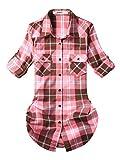 OCHENTA Flanella Camicia - Maniche Lunghe - a Quadri - Donna C138 Peach Pink Asian L - Italiana 40 Asian M - Italiana 38F