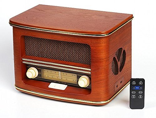 Vintage Radio, Retro Radio CD Spieler,CD/MP3, FM-LW| USB-Anschluss und Fernbedienung | Radio mit Echtholz-Gehäuse| Nostalgisches Radio Holzfarbe Design | Retro Radio für küche