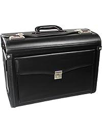 com-four® Maletín Pilot Case Negro, 46.0 x 33.5 x 21.0 cm