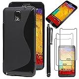 ebestStar - Compatible Coque Samsung Galaxy Note 3 GT-N9000, N9002, N9005 Etui Housse Silicone Gel TPU Souple Motif S-Line + Stylet + 3 Films d'écran, Noir [Appareil: 79.2 x 151.2 x 8.3mm, 5.7'']
