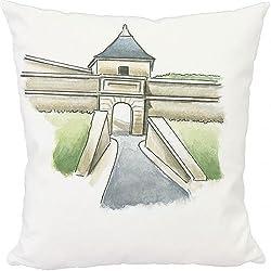 Media Storehouse 12x12 Cushion of Illustration of citadel at Blaye, Gironde, France (13538115)