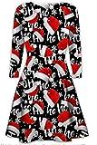 Damen der Frauen mit langen Ärmeln Olaf Santa Geschenke Glocken Lebkuchen-Weihnachtsweihnachts druckte Neuheit Ausgestelltes Swing-Kleid Top in Übergrößen (XXL 48-50, Ho Ho Black Hat)