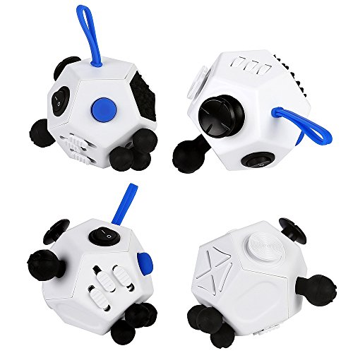 JouerNow Fidget Cube II Anxiety Stress Relief Focus 12 side Dice Kid Toy Gifts white