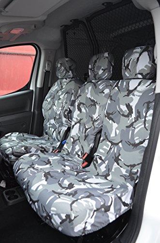 Citroen Berlingo Van 2008in poi coprisedili per sedile del conducente e doppio passeggero anteriore grigio (Sedile Anteriore Del Passeggero)