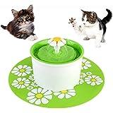PEDY Bebedero Automático Fuente de Agua Silencia Capacidad de 1.6L para Gatos/Mascotas Perro Cat Bebedero Circular con 3 Modos Ajustable Color Verde