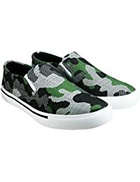 Tycos Green Canvas Slip On Shoes For Men & Boys