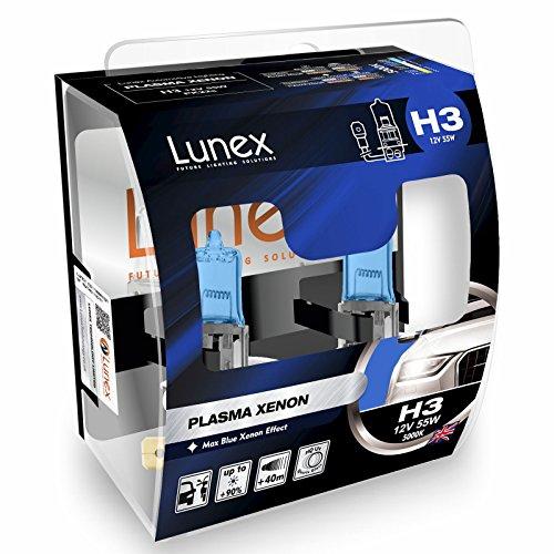 LUNEX H3 PLASMA XENON Ampoules halogènes phare Effet Xénon 12V 55W PK22s 5000K duobox (2 units)