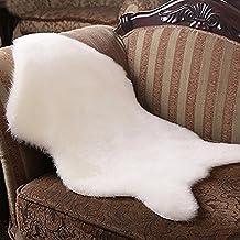 ESHOO alfombra de piel de oveja lana zona alfombra de sofá de pelo sintético,, blanco, 60 x 90 cm