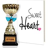TiedRibbons® Valentine's Day Gifts for Him Best Husband Ever Engraved Golden Trophy with Greeting Card