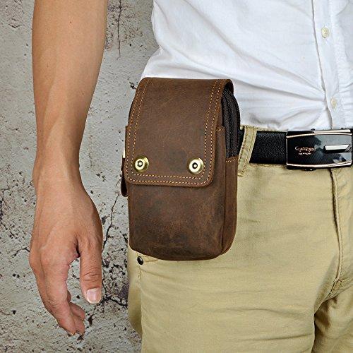 Le'aokuu Herren Leder Hüfttasche Gürteltasche Kleine Haken Taille Pack Telefon Beutel Tasche 011 dunkel braun