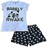 """Pijamas cortos con diseño de panda y texto en inglés """"Barely Awake"""", en blanco y negro, para niñas de 9 a 16 años Blanco blanco 11-12 Años"""