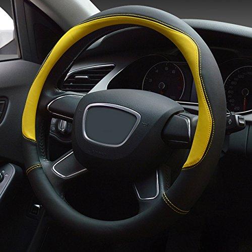 XuanMax Universal Funda de Volante Coche Cuero Microfibra Respirable Cubre Volante Piel Vehiculo Cubierta del Volante Envoltura Protectora Antideslizante Auto Empalme Golpear el Color Steering Wheel Cover 38cm - Amarillo