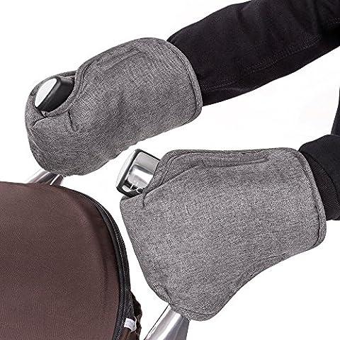 Guantes/calentador de manos con térmica de oso polar de–para carrito o Buggy, melange de agua y viento, transpirable–Grey