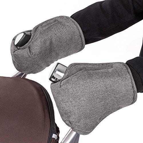 Protège-mains | Chauffe-mains | Gants thermique en polaire pour poussette | universel, imperméable, respirant, coupe-vent, antigel - Couleur Grey Melange (gris chiné)