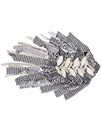 SODIAL (R) de hombro Charreteras hoja con flecos tejido acrilico de metal con diamantes de imitacion