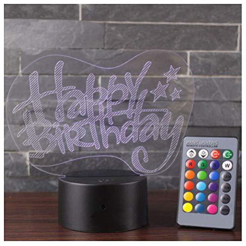 Happy Birthday Theme 3D Lampada Led Night Light 7 Cambia Colore Mood Lamp Decorazione Della Casa-remote control