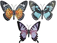 Large Metal Colourful Butterfly Garden Decoration Wall Art - Pack Of 3 from Gardening-Naturally