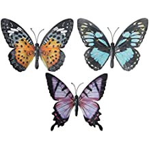Gardening-Naturally LARGE METAL COLOURFUL BUTTERFLY GARDEN DECORATION WALL ART - PACK OF 3
