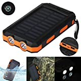 #10: Livoty Waterproof 20000mAh Dual USB Portable Solar Charger Solar Power Bank for Phone one Size White