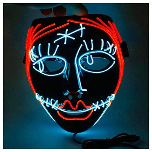 LED Kaltlicht Glow Mask Horror Blumenmädchen Rotes Haar Halloween EL Licht Linie Makeup Dance COS Dress Up Anime Cosplay,Black-OneSize