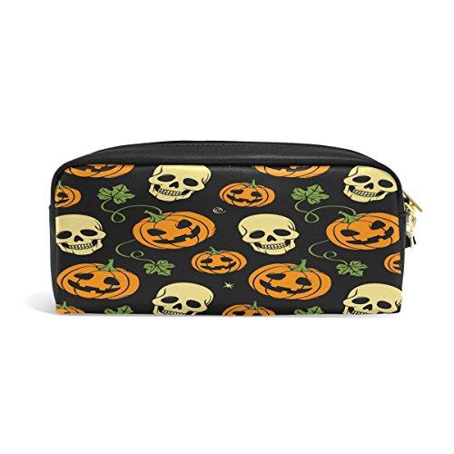 Domoko Sugar Skull Happy Halloween Kürbis PU Leder Pen Pouch Federmappe Fall Make-Up Kosmetik reisen Schule Tasche