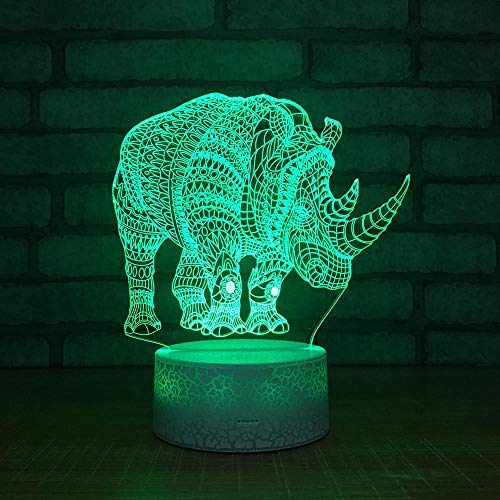 Luce Notturna 3D Illusione Ottica Led Lampada Rinoceronte Interruttore Tattile Cambio 7 Colori Lampada Da Letto Per Camera Da Letto Per Bambini, Regali Per Feste Di Compleanno Per Bambini