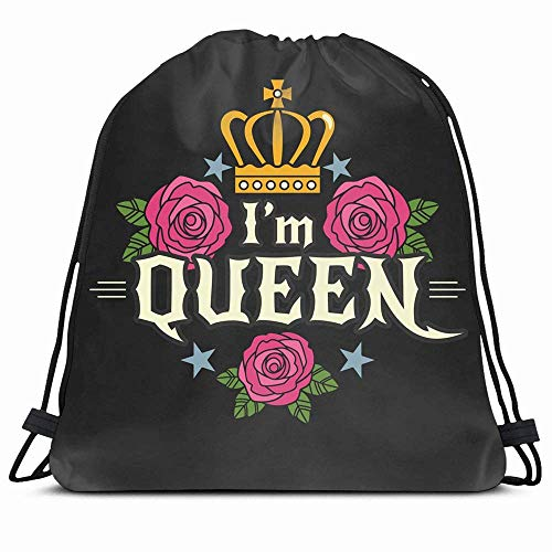 DHNKW Drawstring Backpack String Bag 14x16 Colorful Tattoo I27m Girly Queen Beauty Pink Women Text Royal Cool Crown Youth Rock Star Dark Glamour Female Sport Gym Sackpack Hiking Yoga Travel Beach