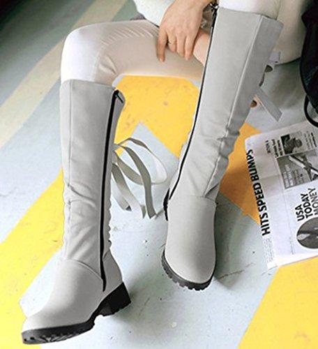 Aisun Femme Classique Noeud Tige Hautes Bout Rond Bottes Gris