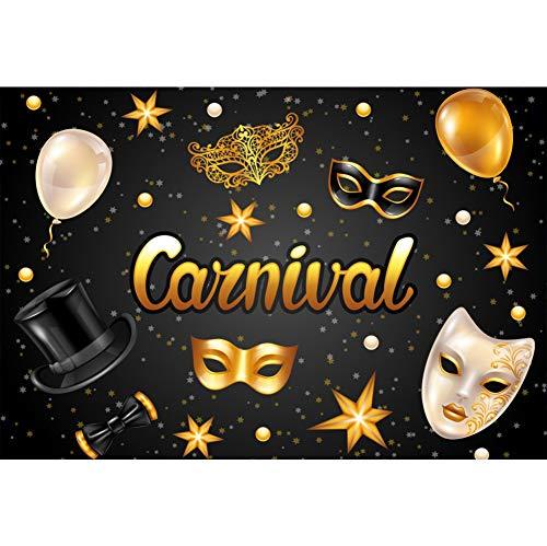 OERJU 1,5x1m Karneval Maske Hintergrund Gold Muster Maske Ballon Sterne Punkte Bowler Hut Hintergrund Karnevalsparty Kinder Erwachsene Wand Dekoration Banner Porträts Fotografie