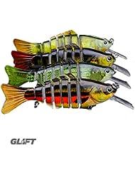 Glift Design Lot de 4appâts articulés en forme de poisson pour la pêche au bar/brochet/sandre et la pêche de mer 11,4cm 13,5g