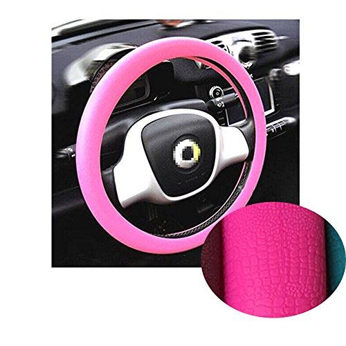K-Bright Suave Cobertor de Volante de Automóvil Silicona Textura de Cuero Carro decorar Accesorio Elástico Anti-deslizante 36-40cm (Rosa)