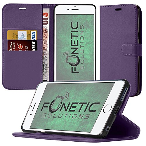Fonetic Solutions® Samsung Galaxy J3 2017 custodia anti-urto in in carbonio custodie cover in gel con qualità premium Crystal Clear LCD screen Protector Guard viola (Purple)Wallet Case + LCD Screen Protector
