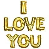 DekoRex 'I LOVE YOU' te amo letras globos papel brillante Decoración para aire hoja 40cm en oro