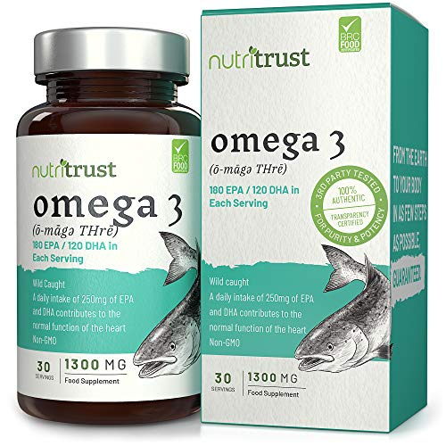 Omega 3 olio di pesce 1300mg capsule Softgel di Nutritrust® - Rinforzato con vitamina E - Selvaggio Fonti di pesce non OGM pescate - Contribuisce alla normale funzione cardiaca cardiaca